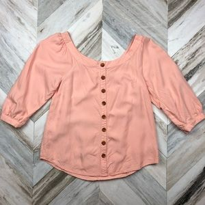 Anthropologie Maeve Peach Off Shoulder Blouse Sz 6